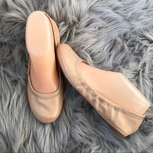 LUCKY BRAND EMMIE 6M Leather Ballet Flats Tan